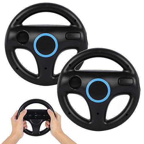 GEEKLIN 2 Stück Schwarz Racing Lenkrad Kompatibel mit Mario Kart für Wii Lenkrad Kunststoff Spiel Fernbedienung
