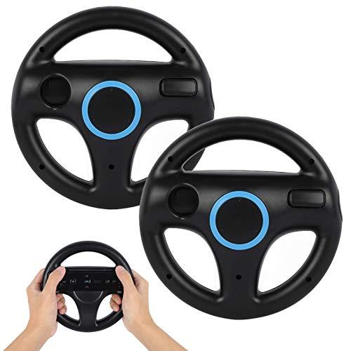Steering Wheel for Wii Controller, GEEKLIN 2 pcs Black Racing Wheel Compatible with Mario Kart, Game Controller wheel for Nintendo Wii Remote Game