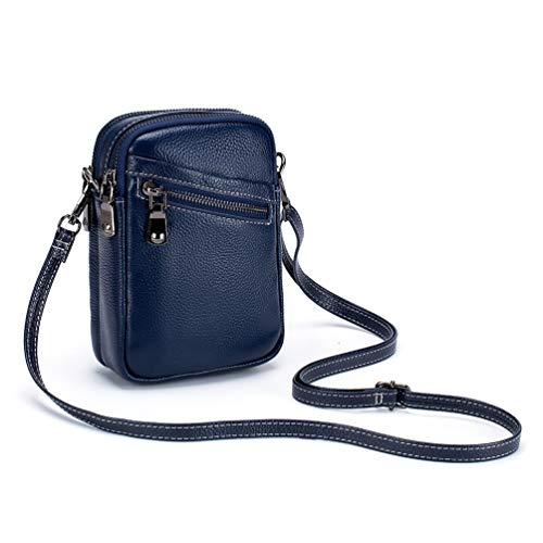 Fanshu Genuino grano completo cuero bolso de hombro para teléfono teléfono monedero bolsa con correa de hombro bolsa de teléfono celular con compartimentos con cremallera multi-bolsillo bolso