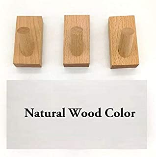3PC Solid Wood Wall Mounted Coat Cloth Hat Key Bag Storage Hooks Hangers Timber (Natural Wood Color)