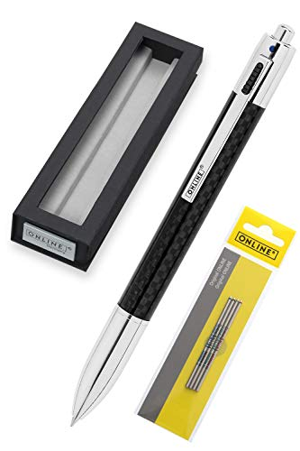 Online 4-Farb-Kugelschreiber in Carbon Design, inkl. Ersatzminen, Drehmechanik, Multifunktionsstift aus Metall mit vier D1 Kugelschreiber-Minen, in Geschenkbox