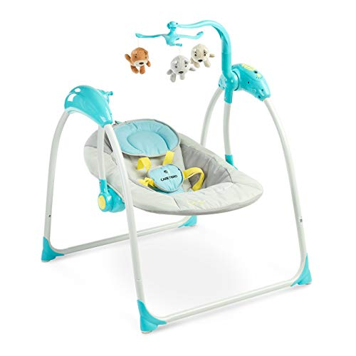 Caretero Loop Elektrische zusammenklappbare Babyschaukel Kinder Schaukelwippe mit Mobile, Moskitonetz, verschiedenen Schaukelrichtungen, Geschwindigkeiten und Timerfunktion Blue
