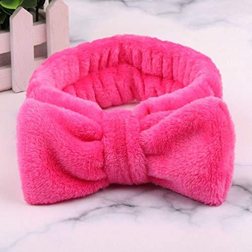 SSB-TOUDAI, Femmes Maquillage Coral Polaire Bandeau Lavage Visage Doux Titulaire De La Cheveux Élastique Top Noeud Bandeaux for Les Femmes Fille Chapeaux Cheveux Accessoires (Color : Rose)