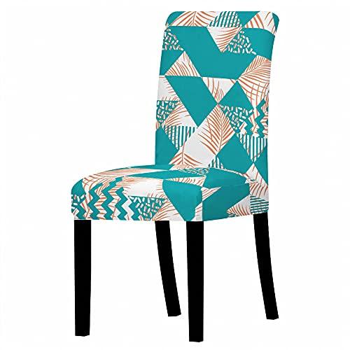 MNJLB Stuhlbezug 6Er Set - Grüne Geometrie Und Blätter Elastische Spandex - Stuhlabdeckung - Hochlehner - Stuhlschutzhülle Für Resterant - Hochzeitsfeier - Esszimmerdekoration, 6Er - Set
