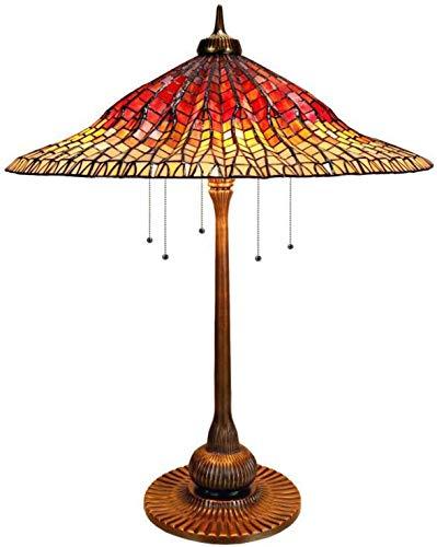 Lámparas de mesa estilo Luz de mesa de escritorio de arte de cobre con cadenas, lámpara de lectura grande de cristal manchada de 24 pulgadas, iluminación nocturna para la cama, sala de estar, sala de