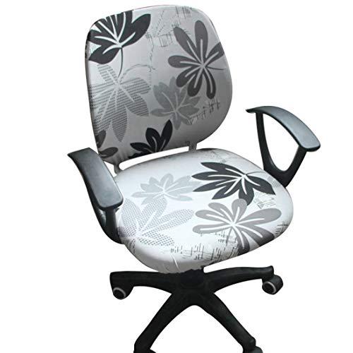 Bverionant Bezug für Bürostuhl Einfarbig Langlebig Stuhlbezüge Stretch-Muster Computer-Bürostuhl Bezug Zweiteiliges Design Ahornblatt