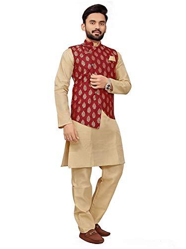 Brand Boy Mens Ethnic Wear Kurta Pajama Nehru Jacket Set