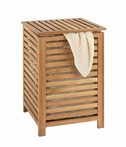 WENKO Cesto para la ropa Norway - con bolsa para la ropa Capacidad: 56 l, Madera de nogal, 45 x 65 x 45 cm, Nogal