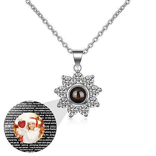 100 Sprachen ICH LIEBE DICH Halskette Benutzerdefinierte Foto-Halskette Personalisierte Halskette Sonnenblumenanhänger(Silber Vollfarbe 22)