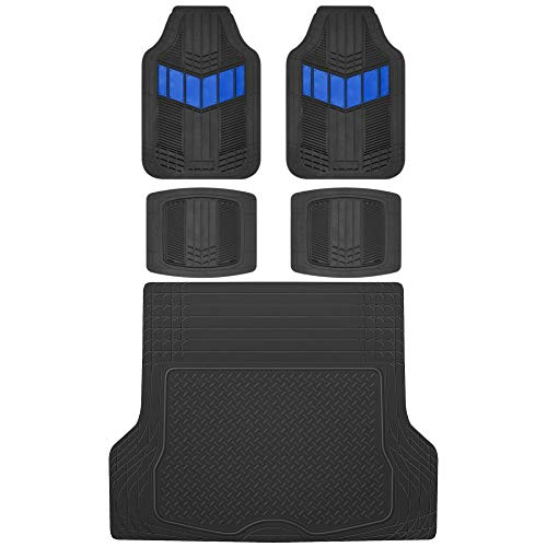 Motor Trend MT-688 DualFlex Two-Tone Rubber Car Floor Mats, Universal Front & Rear Combo Set with Trunk Cargo Mat Liner for Car Sedan SUV Van, Heavy Duty All Weather Trim to Fit