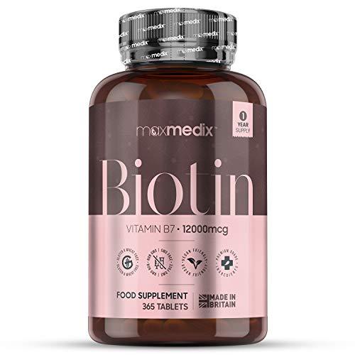 Biotina Natural 20,000 mcg Dosis Alta, 180 Comprimidos Veganos - Suplemento Vitamínico Para Crecimiento, Fortalecimiento y Frenar Caída del Cabello, Para Salud de la Piel y Uñas, Activa Metabolismo