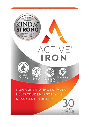 Active Iron | Iron Tablets | Non-Constipating | Ferrous Sulfate Iron | Helps Strengthen Your Immune System | 1-Month Supply