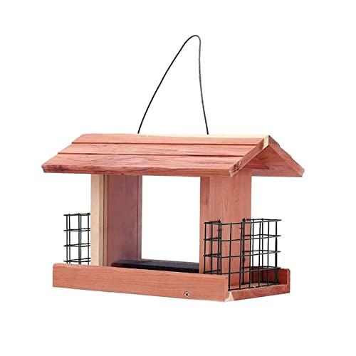 llsdls Alimentador de pájaros Colgando jaulas de Aves de Madera for canarias Suministros de Aves Patio y Decoraciones de jardín Aves al Aire Libre Accesorios (Color : Brid Feeder)