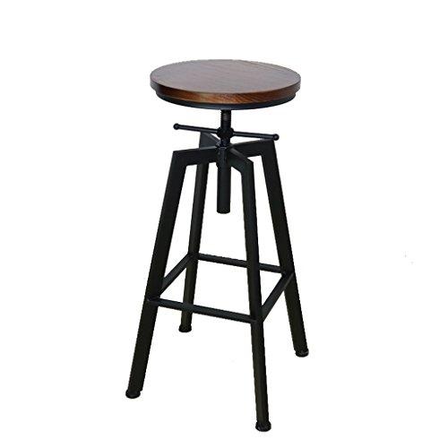 Tabouret de bar d'ascenseur rétro de fer forgé, tabouret de rotation élevé de café de rotation (Color : Black)