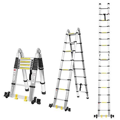 FIXKIT Échelle Télescopique, Escabeau Telescopique Pliant en Aluminium 5 m, Charge Capacité de 330 lbs/150 kg