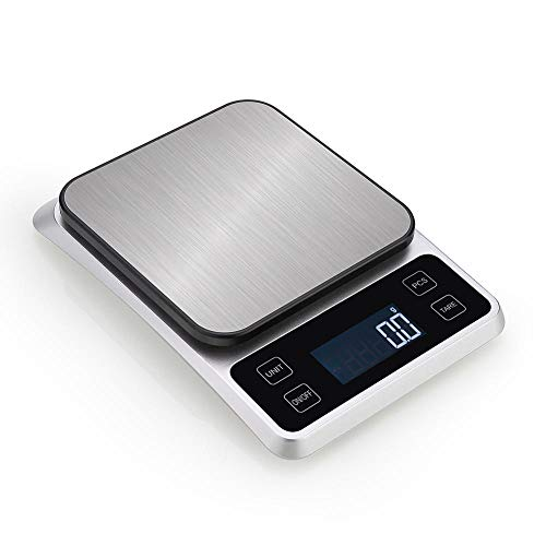 Báscula Digital De Cocina,Básculas Para Alimentos De Acero Inoxidable Con Pantalla LCD, Función De Tara Para Cocinar, Función De Conteo, 7 Unidades De Medida (5Kg/0.1g)