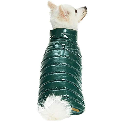 Blueberry Pet Cozy & Comfy Windproof Lightweight Quilted Fall Winter Dog Puffer Jacket in Hunter Green, Back Length 17