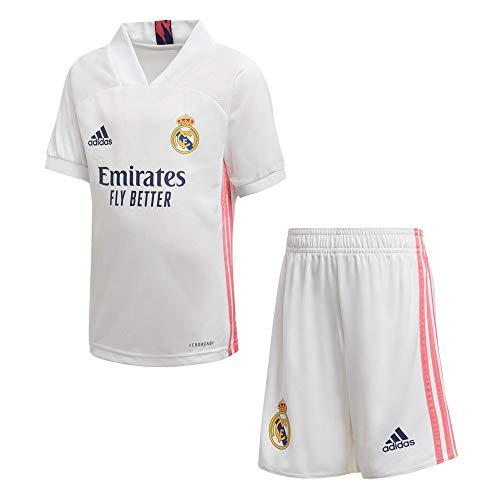 Real Madrid Adidas stagione 2020/21 - Completo Ufficiale, Bambini, Bianco, 116 cm (5-6 anni)