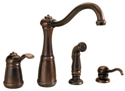 Pfister LG26-4NUU Marielle 1-Handle Kitchen Faucet with Side Spray & Soap Dispenser in Rustic...
