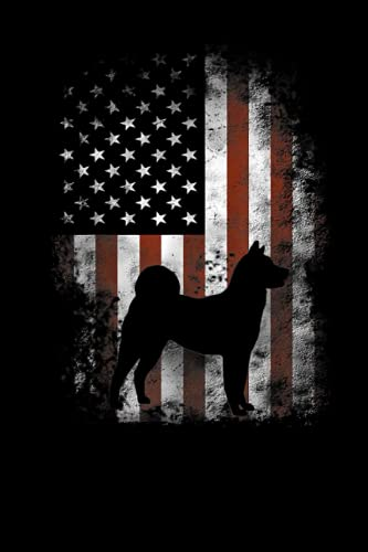 Akita Inu American Flag Patriotic 4th Of July Lined Notebook: Independence Day...