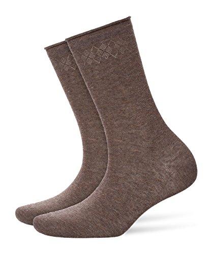 BURLINGTON Damen Socken Ladywell, Baumwollmischung, 1 Paar, Grau (Mud 3381), Größe: 36-41