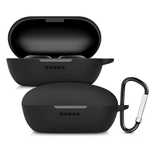 kwmobile Custodia compatibile con Xiaomi Haylou Gt1 Pro - Protezione porta auricolari in silicone TPU con cordino e apertura ricarica nero