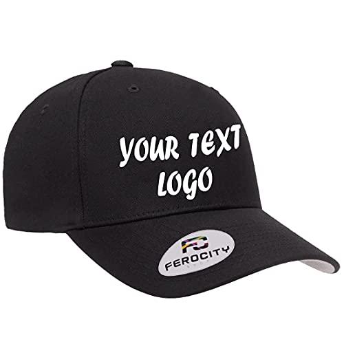 Ferocity, Gorra de béisbol personalizada con texto y gráficos personalizados, unisex, para adultos y niños, tamaño ajustable, 100% algodón, Negro , Talla única