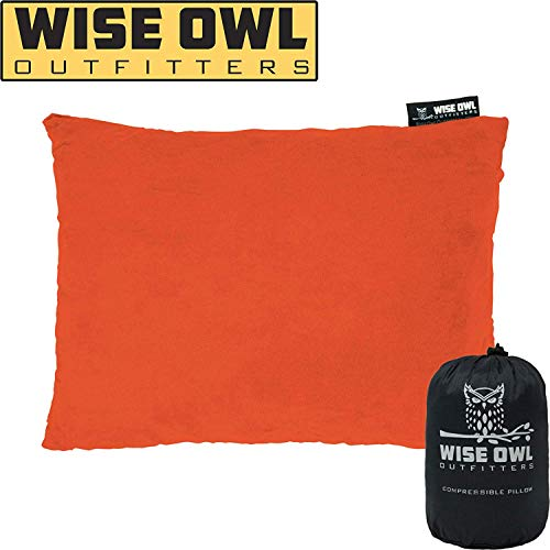 Wise Owl Outfitters Camping Pillow Compressible Foam Pillows – Use When Sleeping in Car, Plane Travel, Hammock Bed & Camp – Adults & Kids - Compact Small & Large Size - Portable Bag - MD Orange