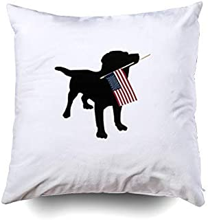 Musesh Black lab Dog with USA American Flag 4th of July Accent Cushions Case Throw Pillow Cover for Sofa Home Decorative Pillowslip Gift Ideas Household Pillowcase Zippered Pillow Covers 18X18Inch