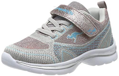 KangaROOS KangaGirl EV II Unisex-Kinder Sneaker, Mehrfarbig (Silver/Baby Blue 9023), 35 EU