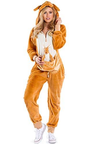 Tipsy Elves' Women's Kangaroo Costume - Brown Marsupiral Halloween Jumpsuit Jumpsuit Size Medium