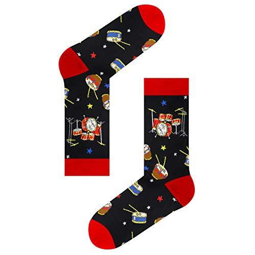 Product Image 2: Mens Novelty Drum Music Socks in Black, Crazy Music Themed Gift for Music Lover
