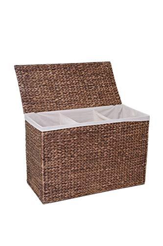 Vivanno Wäschekorb Wäschesammler Wäschebox 3 Fächer Wasserhyazinthe Divide waschbraun