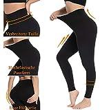Damen Leggings Sporthose mit Hohem Bund - Yogahose Laufhose Fitnesshose Leggins Yoga Sport Leggings Tights für Damen zum Laufen, Radfahren, Fitness (2er Pack- Schwarz& pflaume, Plus Size(DE 42-48)) - 4
