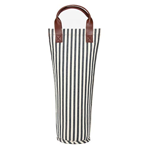 Tirrinia Single Wine Tote Bag, Insulated Padded Thermal Wine Bottle Carrying Cooler Carrier for Travel, Picnic, Great Gift for Wine Lover, Blue Stripe