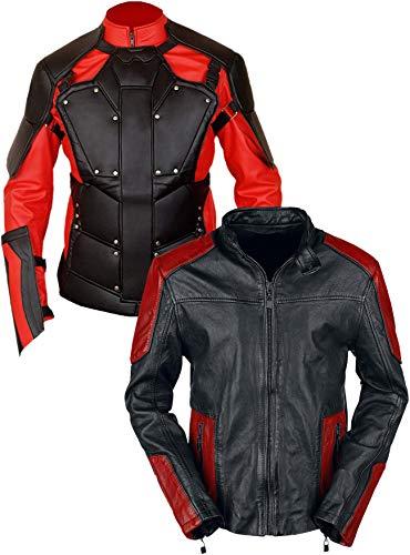 Western Fashions Will Smith Deadshot Lederjacke in Rot & Schwarz-3xl