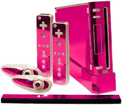 Pink Chrome Mirror Vinyl Decal Faceplate Mod Skin Kit for Nintendo Wii Console by System Skins