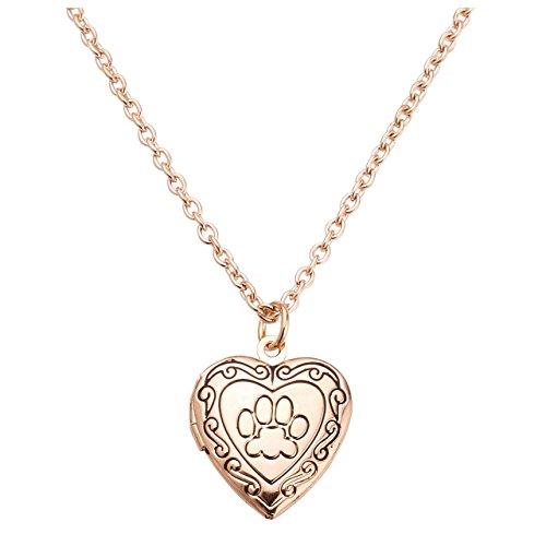 Jovivi Herz-Kette Pfote Fußspuren Foto Medaillon zum Öffnen Photo Bilder Amulett Herz Anhänger Halskette für Damen Mädchen,Rosengold