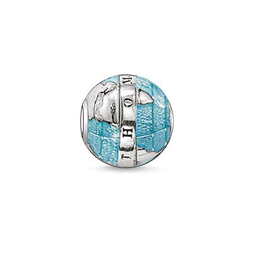 Thomas Sabo Damen Herren-Bead Welt Karma Beads 925 Sterling Silber geschwärzt blau K0036-007-1