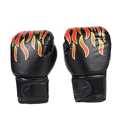 MissLi 1 Par De Guantes De Boxeo para Niños, Guantes De Piel Sintéticos Transpirables con Red De Llama Profesional, Guantes De Entrenamiento De Boxeo Sanda (Color : Black)