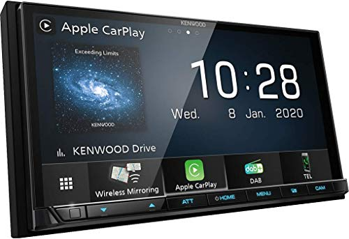 Kenwood DMX8020DABS 17,7 cm WVGA Digital Media Moniceiver mit DAB+, Wireless CarPlay, Android Auto, Wireless Android Mirroring, WiFi, Dual-USB, HI-Res Audio, kapazitiver Touchscreen