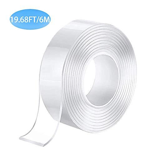 RYCHUI herbruikbare Nano plakband, multifunctionele transparante dubbelzijdige niet-traceerbare lijm tape, wasbare sterke gel anti-slip plakband, voor muur, keuken, tapijt, foto's bevestiging 6M x 30mm x 2mm