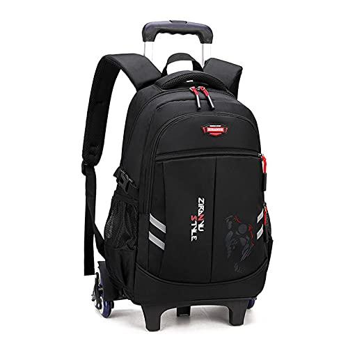 Mochila con ruedas de 6 ruedas para niños y niñas, mochila escolar, gran almacenamiento casual, ligera, impermeable, nailon, color negro y rojo