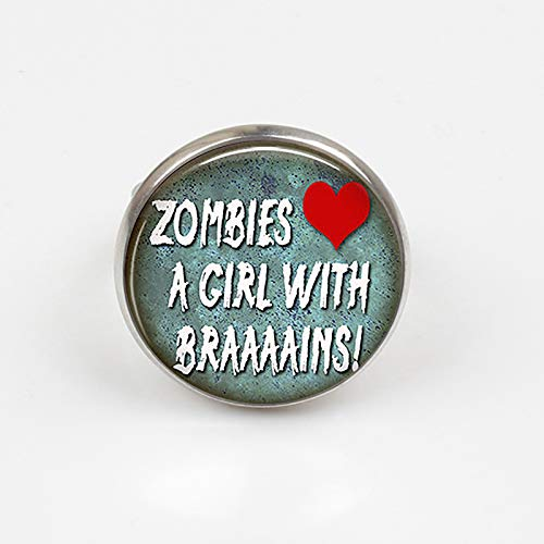 2018 Zombies Love A Girl con Brains Anillo Zombie hecho a mano joyería de Halloween Geek regalo hombre mujer cita joyas
