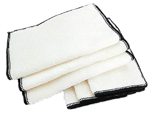 Bamboo Fibre Cleaning Cloth, Kitchen Cloths, Dish Cloth, Anti bacterial Cleaning Cloths, Lint free Cloth, Plastic Free Packaging (WHITE 6)