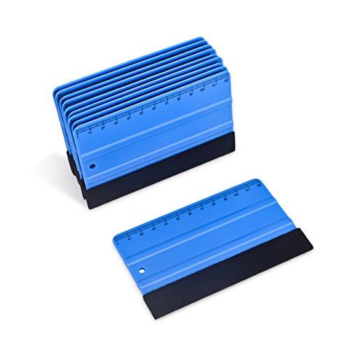 Winjun 10 Stück Blau Plastik Rakel Filzrakel Folienrakel Verkleberakel Kunststoffrakel Andrückrakel Kantenrakel mit Lineal für Auto Vinyl Wrap Fensterfolien Tönungsfolien