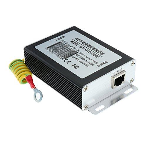 perfk Poe Ethernet Signal Surge Protector Surge Protector Durevole Dispositivo di Protezione in Lega di Alluminio Contro E Tuoni