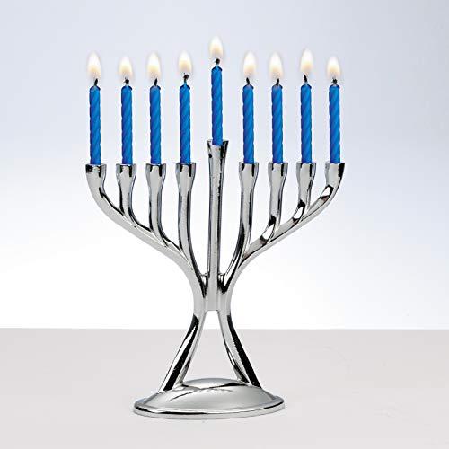 Rite Lite Modern Polished Silvertone Chanukah Menorah - Hanukkah Candles Menorah 4.5' h