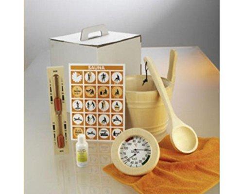 Sauna accessoireset Premium 6-delig opgietenbak, thermo-/hygrometer en pollepel