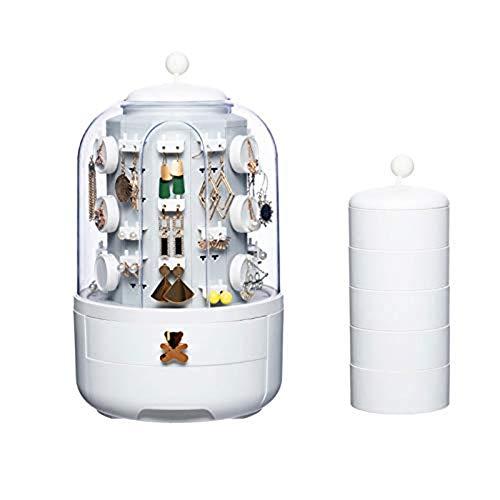Fikujap exhibición de la joyería de Lujo rotación de Caja automática con 5 Capas Elegante sostenedor del Soporte de Gama Alta joyería rotativa del Reloj Organizador con 39 Caso Ganchos,Blanco